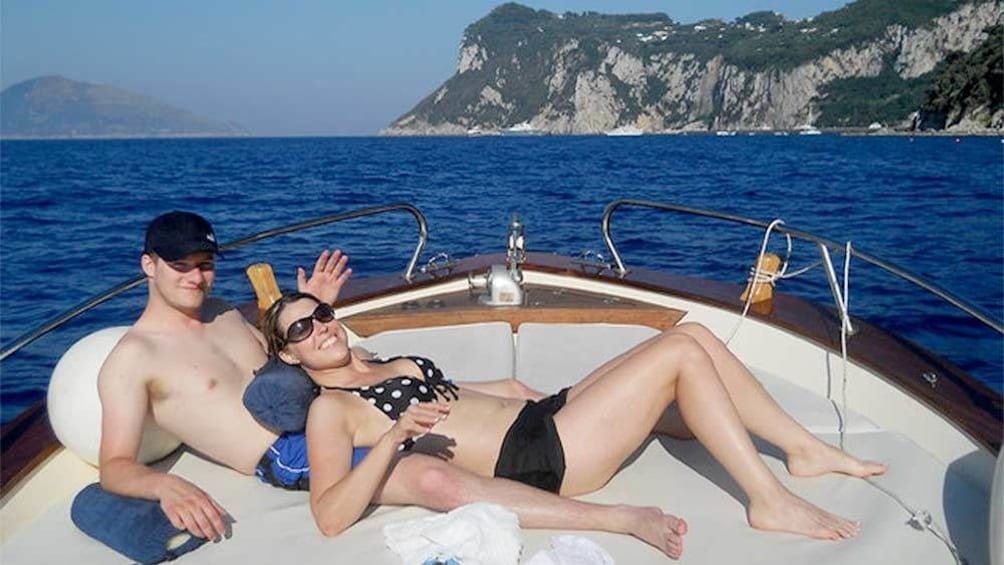 Show item 4 of 5. Couple on the Amalfi boat tour from Sorrento