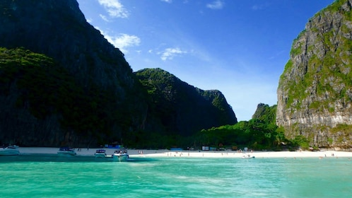 Beach and surrounding cliffs on Phi Phi Island in Phuket