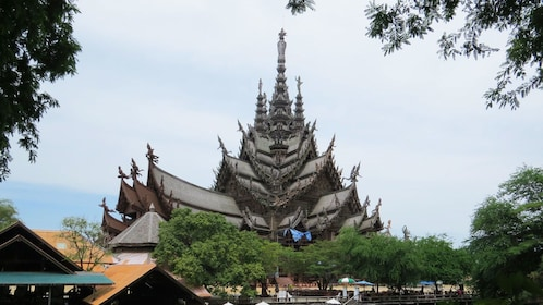 View of The Sanctuary of Truth from town in Pattaya