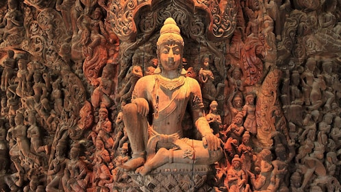 Close up of carvings on wall in The Sanctuary of Truth in Pattaya