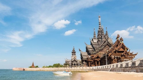 View from the beach of The Sanctuary of Truth in Pattaya