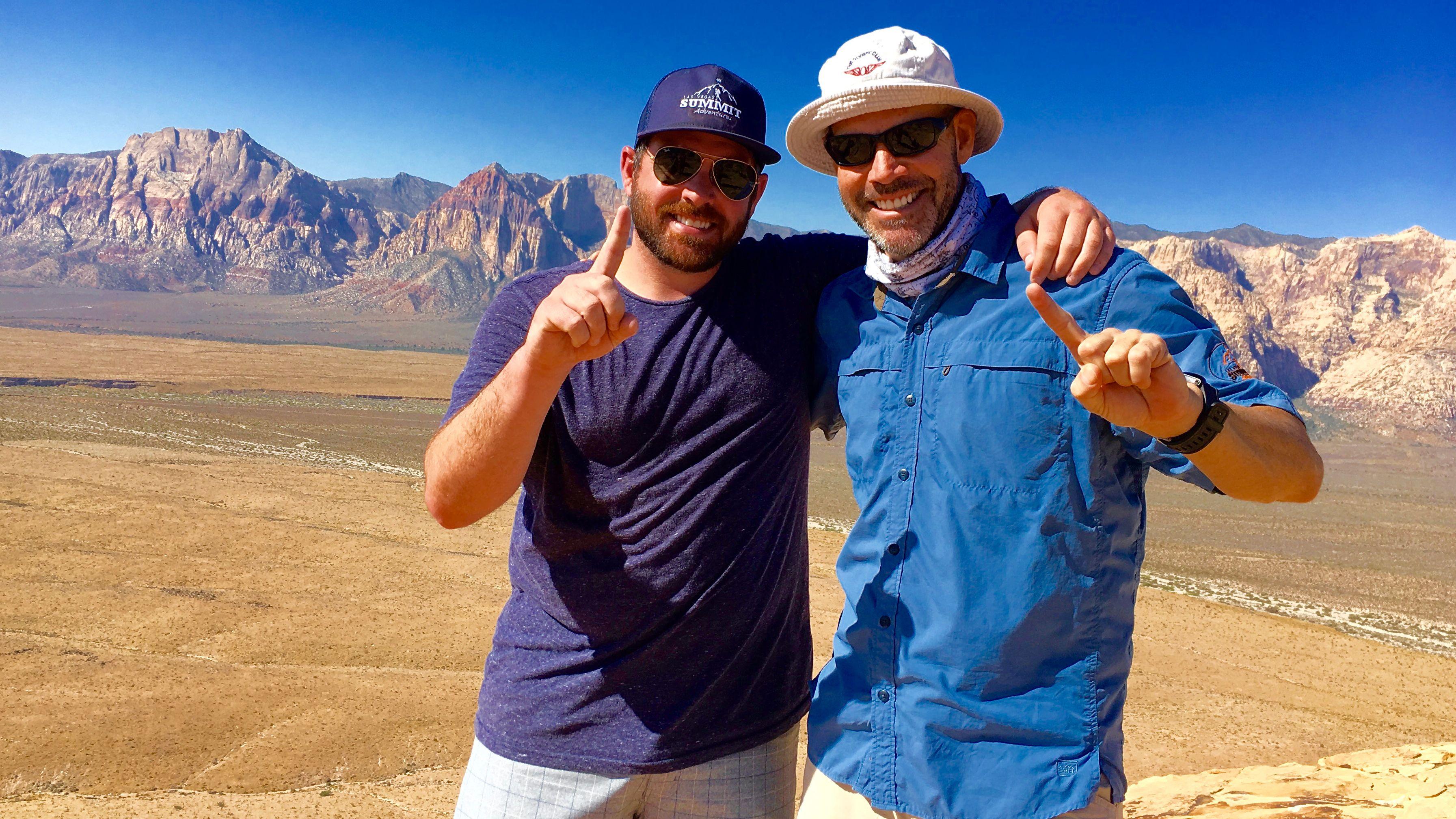 Two men hiking in Las Vegas
