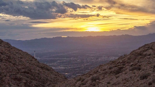 View from trail overlooking Las Vegas as the sun sets.