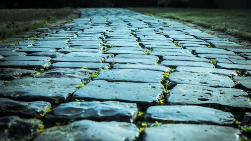 Cobblestone pathway on ghost and graveyard tour in Alexandria