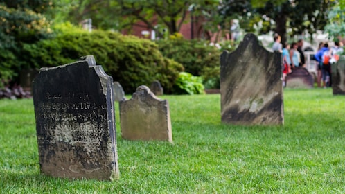 Old headstones on ghost and graveyard tour in Alexandria