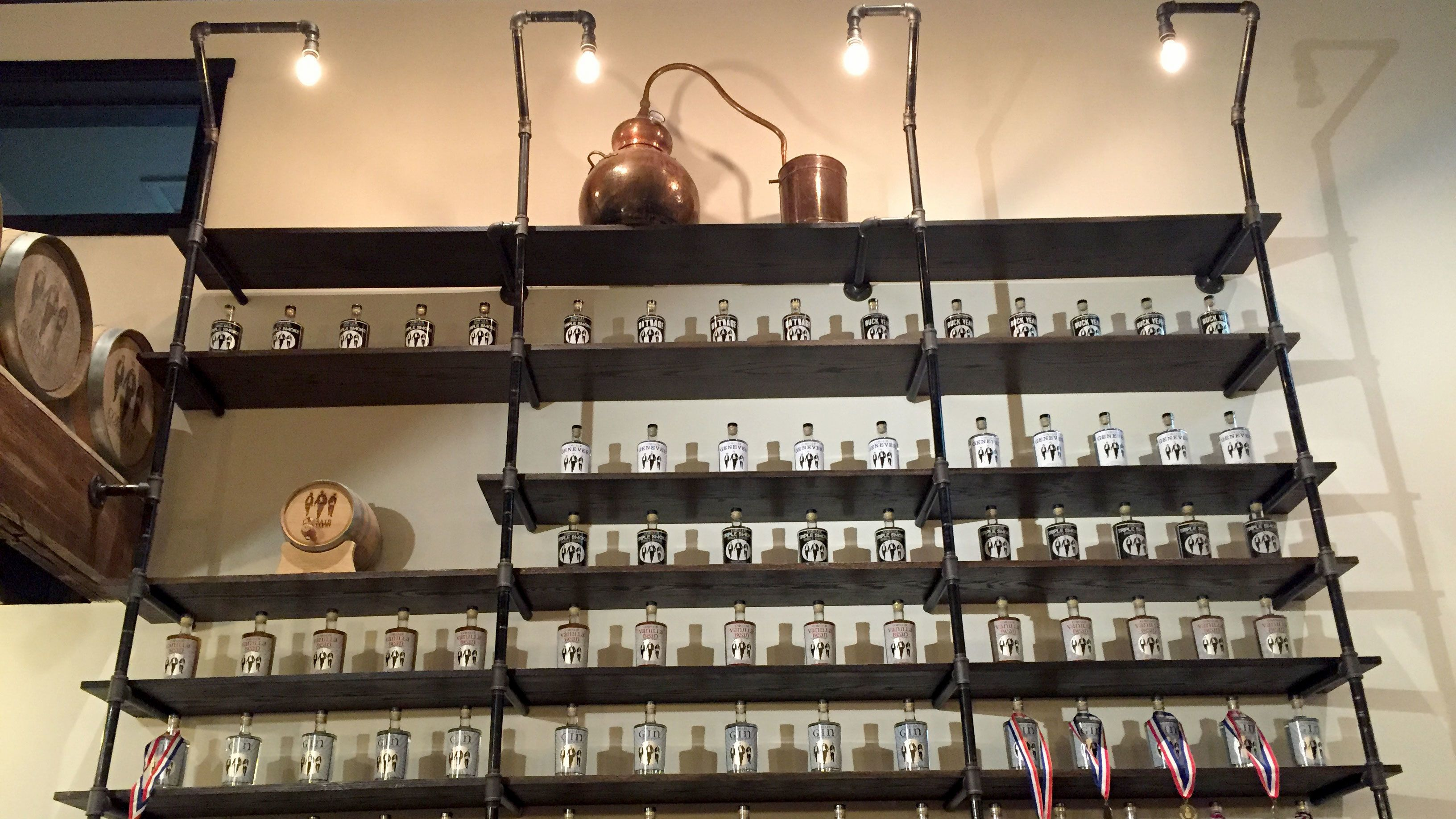 Shelves with bottles at a distillery in Tennessee