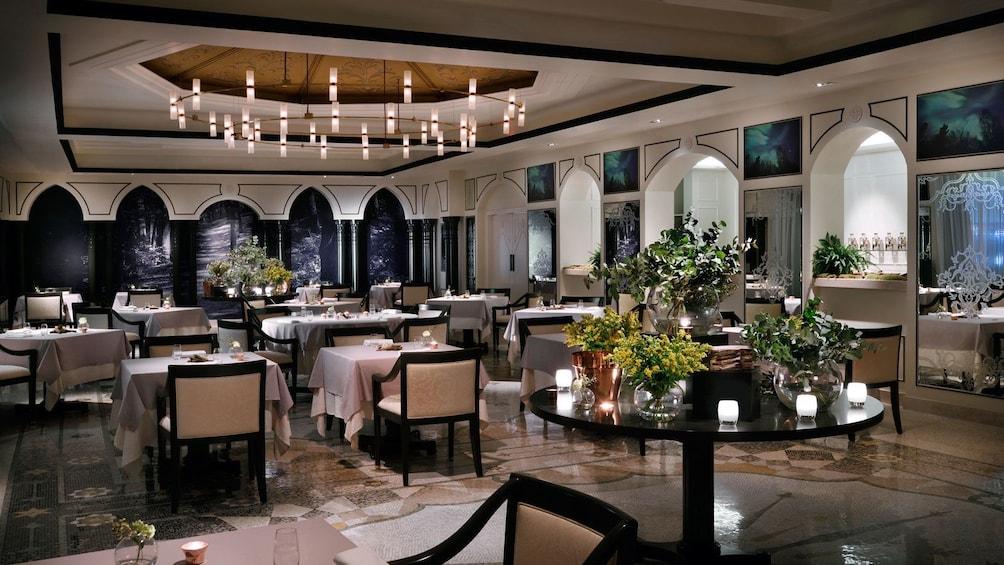 Elegant open seating in fine dining restaurant Enigma in Dubai