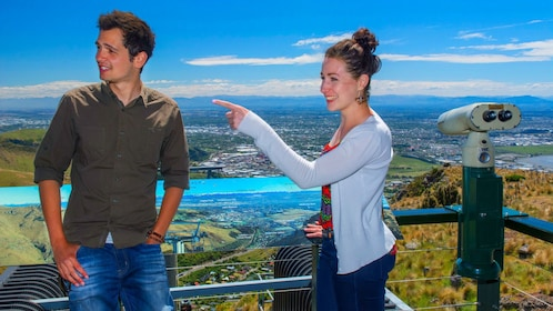 Two people at a scenic vista in New Zealand