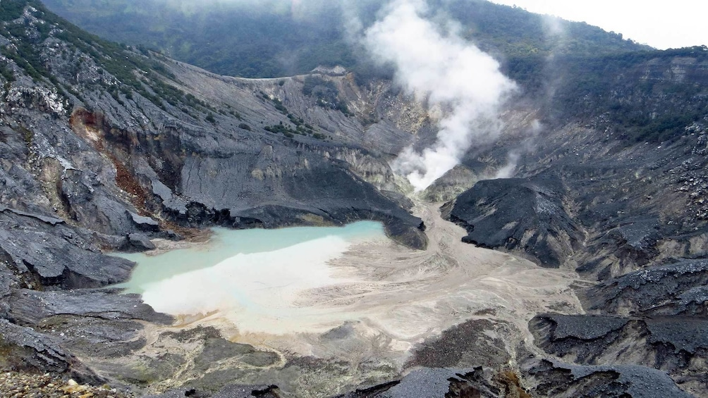Breathtaking view of Tangkuban Perahu, a Stratovolcano in Indonesia