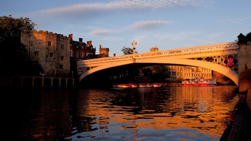 Bridge over the River Ouse at sunset in York
