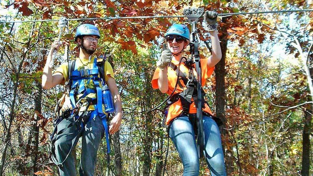 Couple ziplining in Kansas City