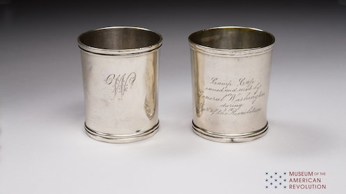 Silver cups on display at the Museum of the American Revolution in Philadelphia