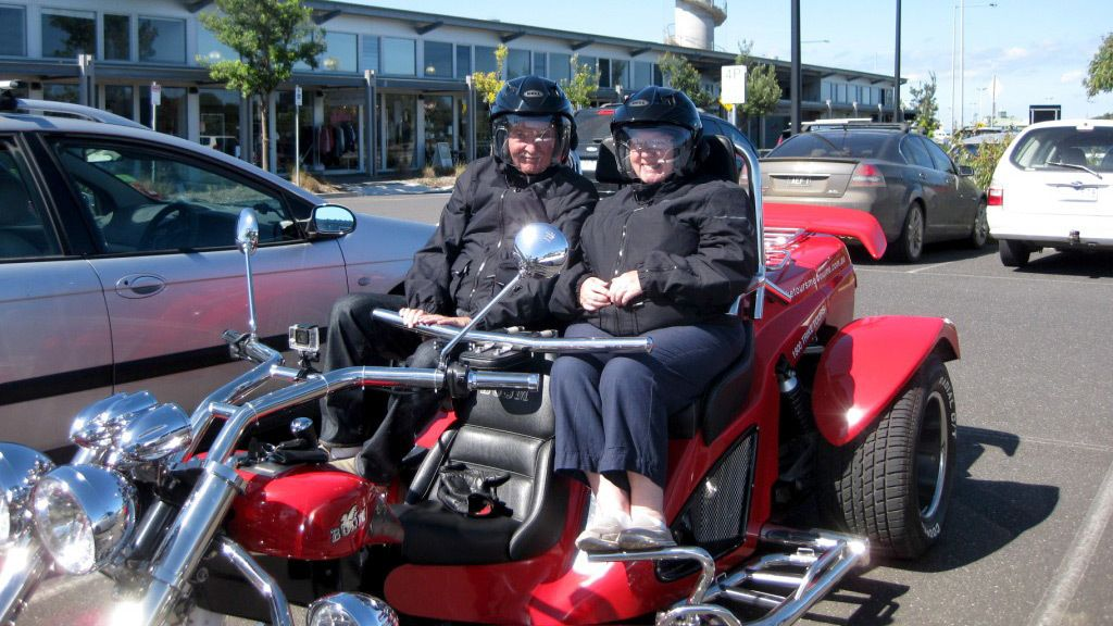 Couple in a Trike vehicle in Melbourne