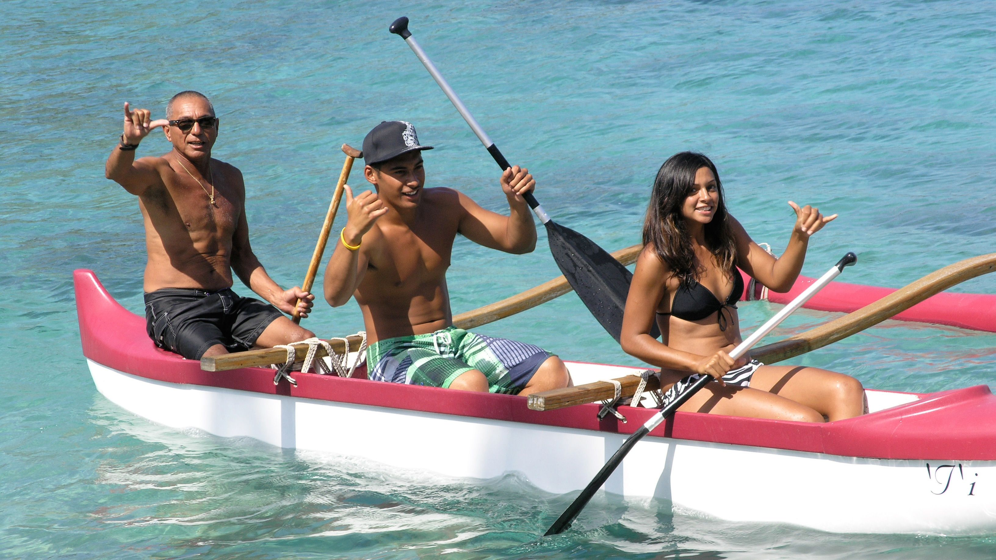 Group in an outrigger canoe on Big Island