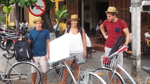 Group prepares to ride bikes to country in Hoi An