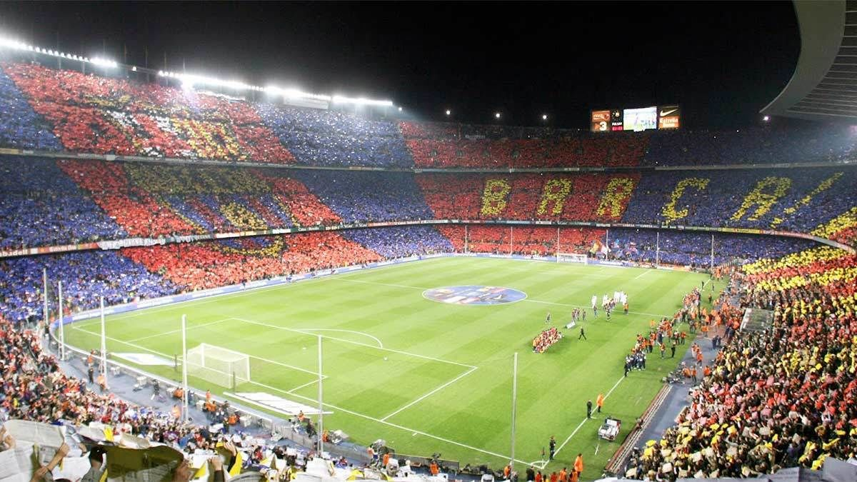 Inside view of the stadium for FC Barcelona