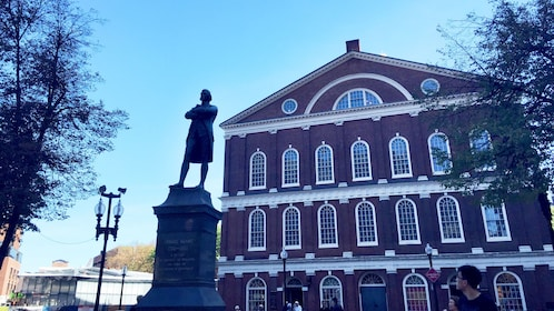 Statue of Samuel Adams in front of Fanueil Hall in Boston
