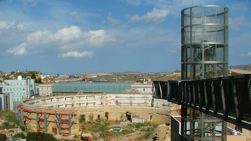 View of old structures in the distance in Cartagena