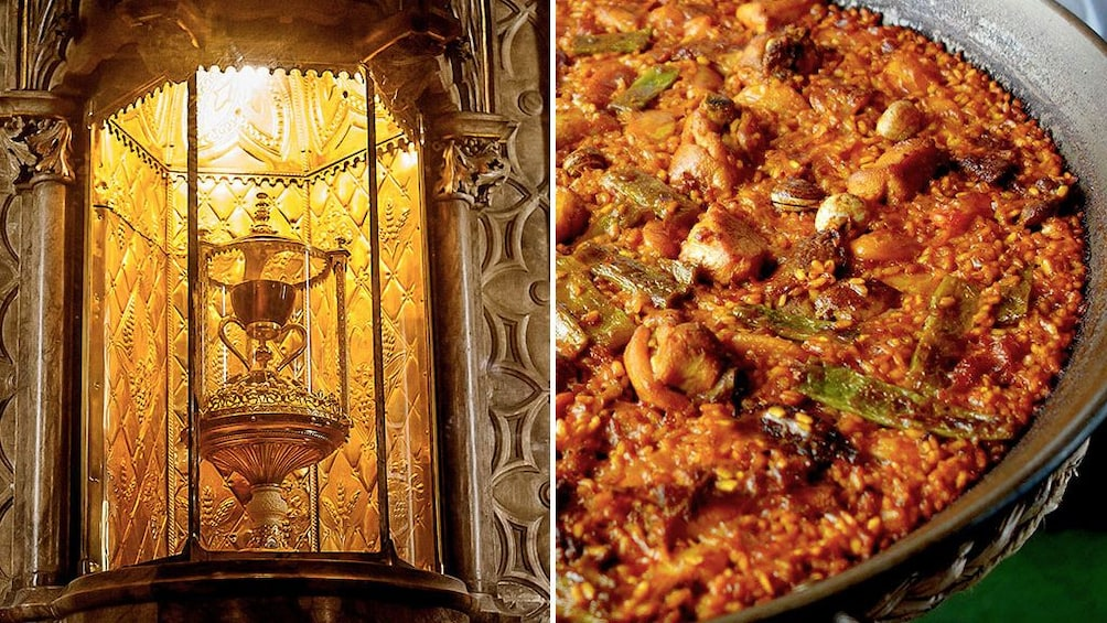 Ver elemento 1 de 7. Split image of the Holy Grail and a dish of paella in Valencia