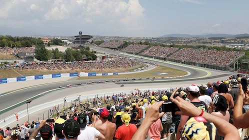 View of a motorcycle race from the stands in Barcelona
