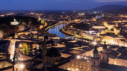 View of Salzburg at night