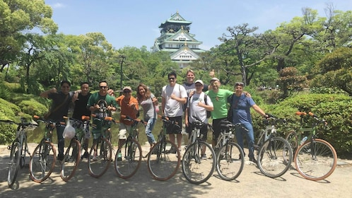 Large group on the Full-Day Cycling Tour of Osaka