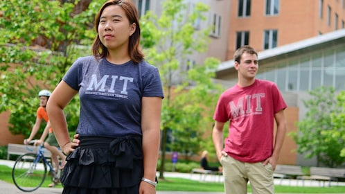 Tour guides on MIT campus in Massachusetts