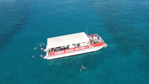 Aerial view of people swimming alongside a glass bottom boat on Oahu