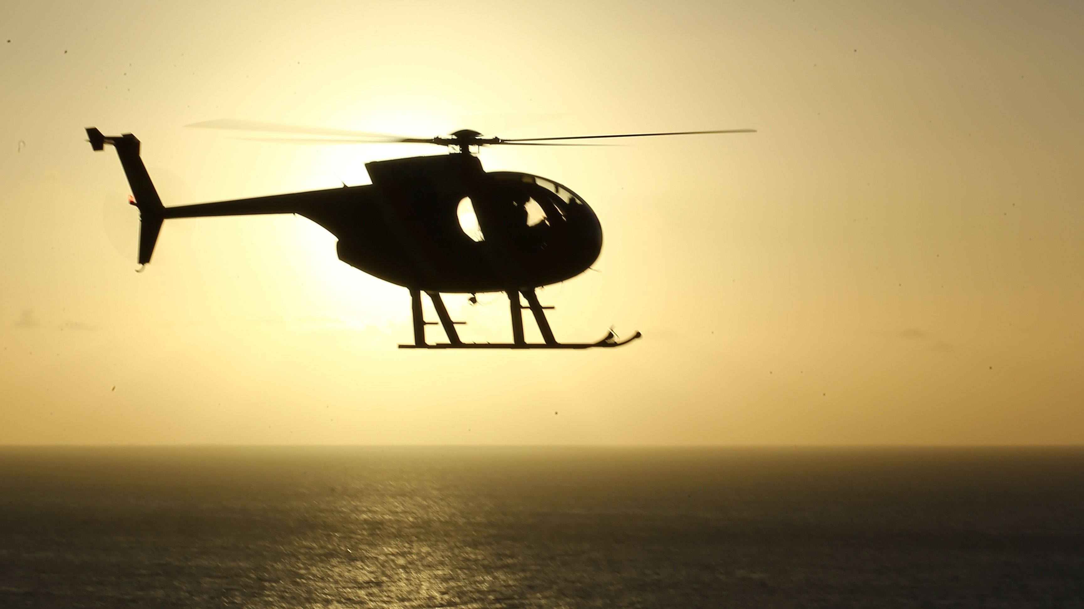 Helicopter at sunset on Big Island