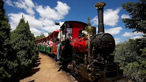 People riding train in Cockington Green Gardens in Nicholls