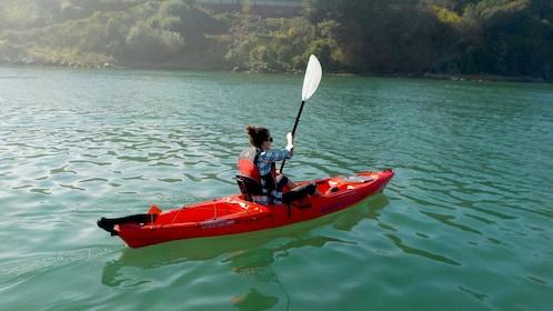 Woman kayaking in Oregon