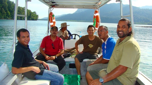 Group of people on a boat in Malaysia
