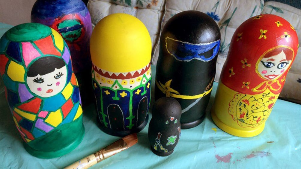 Show item 2 of 5. Hand-painted nesting dolls in St Petersburg