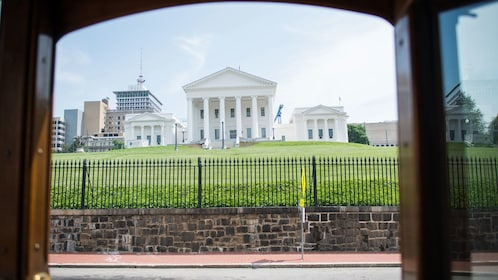 View of historical buildings from trolley in Richmond
