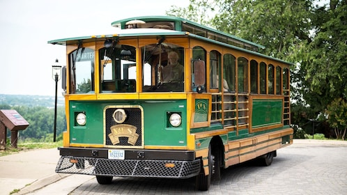 View of trolley stopped at attraction in Richmond