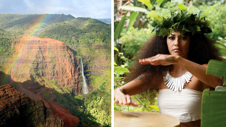 Split image of Waimea Canyon and a woman drumming at a luau on Oahu