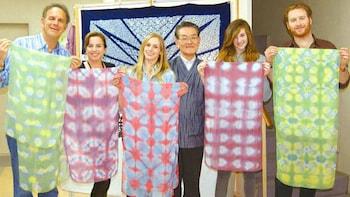 Itajime-Style Shibori Scarf-Making Class in Kyoto