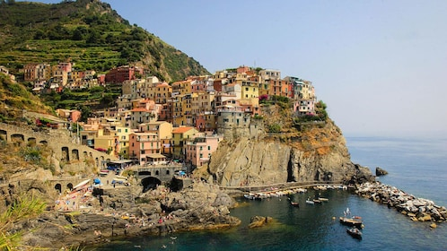 Town of Vernazza on cliffside in Italy
