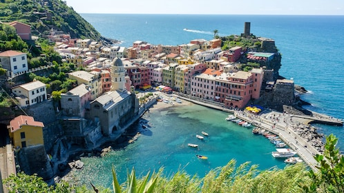View down onto Vernazza and port in Italy