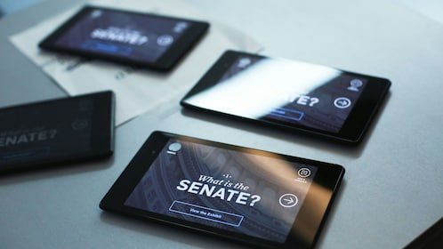 Tour guide tablets on table in Edward M. Kennedy Institute in Boston
