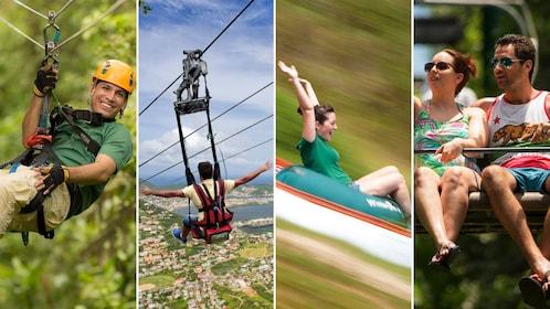 Combo image of activities from Rain Forest Adventures St. Maarten