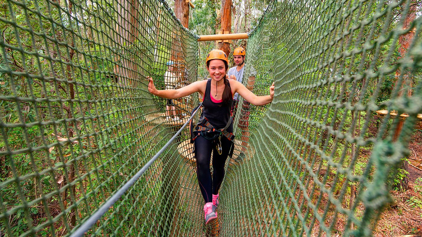 Woman walks through netting in a Forest canopy in an Adventure Park