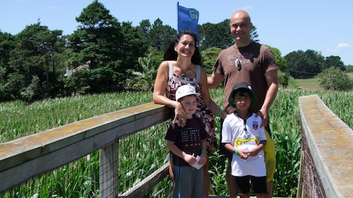 Family on a Corn Maze bridge