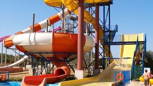 Multiple water slides in water park on Ionian Islands