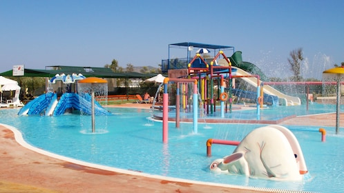 Children water play area at water park on Ionian Islands