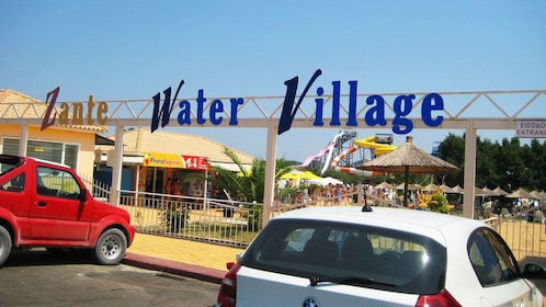 Zante Water Village sign at entrance of water park in Ionian Islands