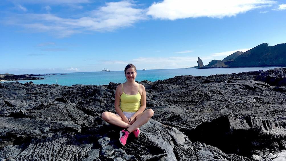 Show item 1 of 5. Woman enjoying the Galapagos Land Tour
