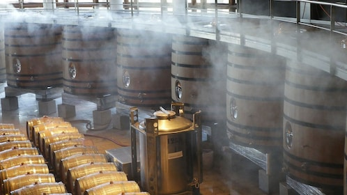 Winery room with casks of wine fermentation in Niagara Falls, Ontario