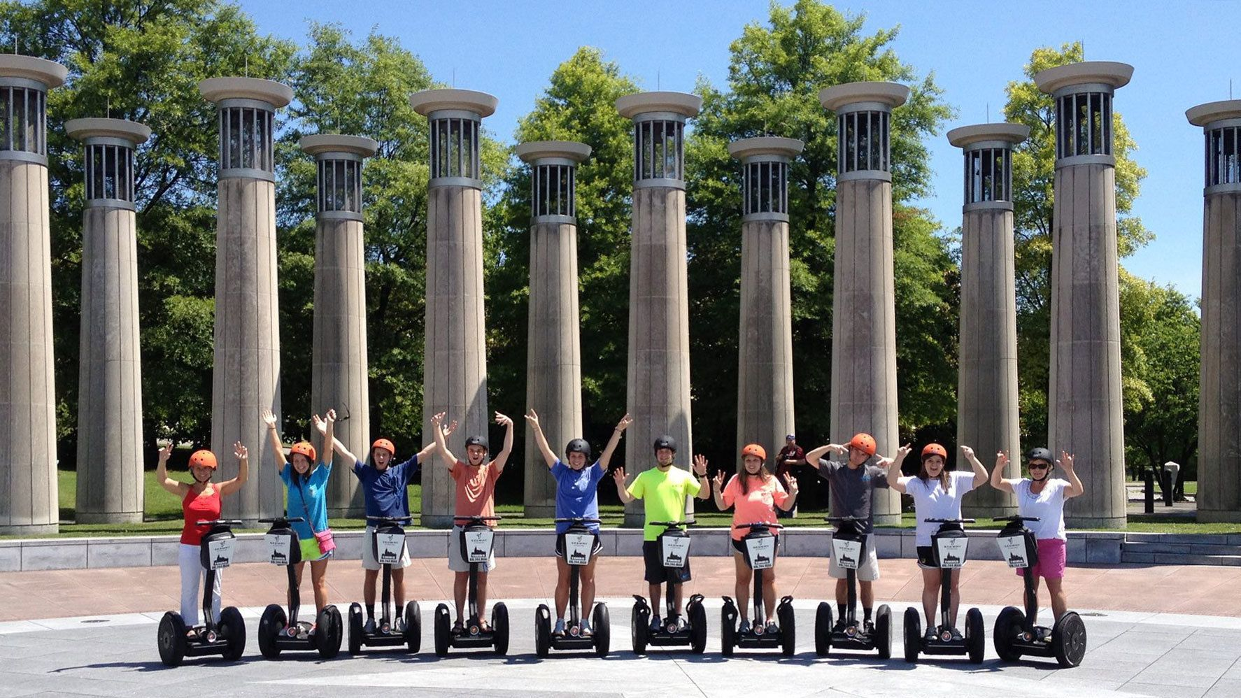 Large segway group in front of columns in park in Nashville