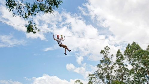 Woman ziplines in TreeTops adventure park in Adelaide